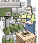 Auf dem Bild sehen sie einen Mann der an einer Maschine arbeitet.