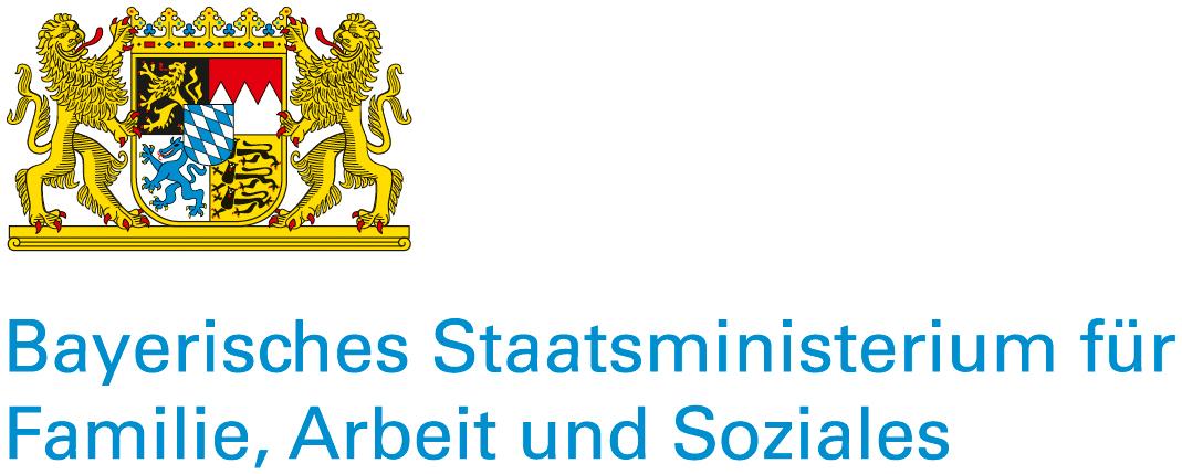 Sie sehen das Logo des Bayerischen Staatsministeriums für Familie, Arbeit und Soziales