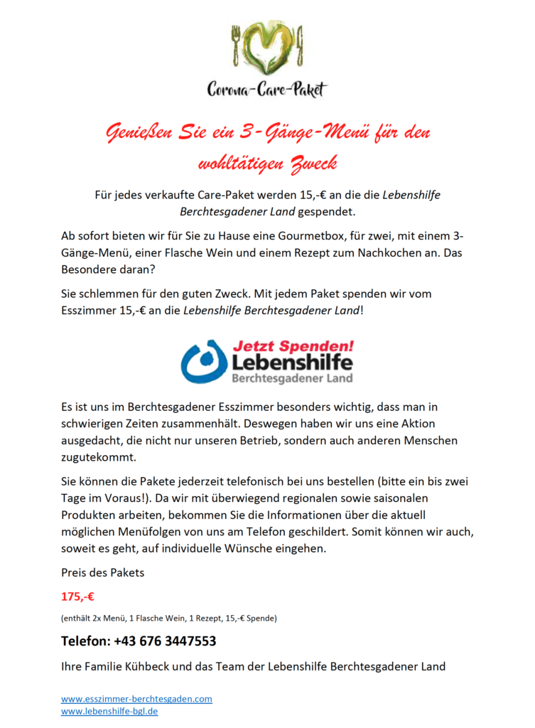 Das Corona Care Paket - Coole Aktion für die Lebenshilfe Berchtesgadener Land!
